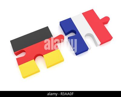 Allemagne France Partenariat: le drapeau allemand et le drapeau français, des pièces de puzzle 3d illustration sur fond blanc Banque D'Images