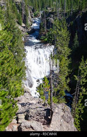 Kepler Cascades est une cascade sur la rivière Firehole dans le sud-ouest Le Parc National de Yellowstone, aux États-Unis. Les cascades sont situés à environ 2,6 milles Banque D'Images