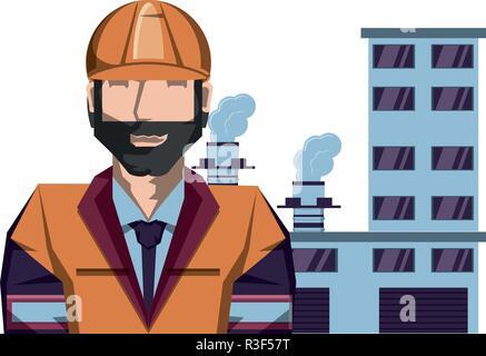 Avec l'industrie des travailleurs du bâtiment d'huile vector illustration design Banque D'Images