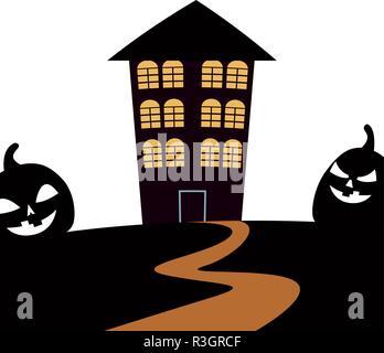 Scary Halloween house et les citrouilles vector illustration Banque D'Images