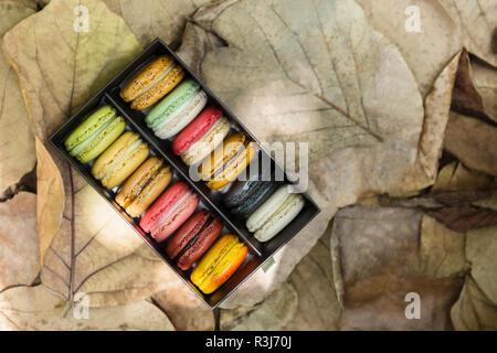 Colorful macarons français sur fort mis sur brown congé avec copie espace libre. Photo pour ajouter du texte message. Toile de l'art de la conception du travail. Banque D'Images