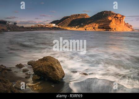 Magnifique coucher de soleil sur la plage de Los Cocedores Banque D'Images