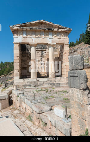 Trésor des Athéniens, Delphes, Grèce Banque D'Images