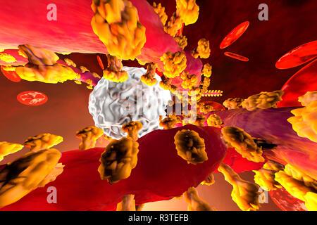 Rendu 3D illustration d'une lutte contre le virus Ebola avec cellules de défense des leucocytes dans le sang entouré par des cellules érythrocytaires Banque D'Images