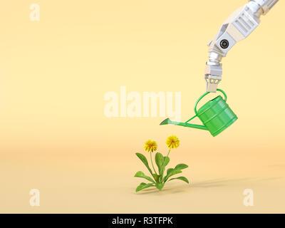 Le Rendu 3D, Robot claw arrosage des fleurs Banque D'Images