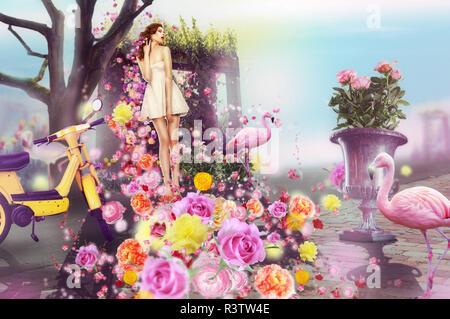 Concept créatif. Arts visuels. Femme et fleurs Banque D'Images