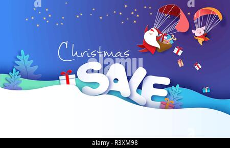 2019 Nouvelle année design publicitaire. Le Père Noël et funny pig battant avec plus de parachute de grandes lettres vente fond bleu. Vector illustration pour la promotion de l'art du papier, les en-têtes des bannières, affiches, autocollants Banque D'Images