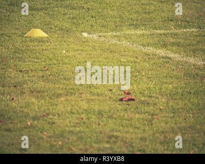 Les feuilles d'automne sur l'aire de jeux. Météo automnale symbole sur terrain de football. Feuilles jaunes dans un automne Banque D'Images