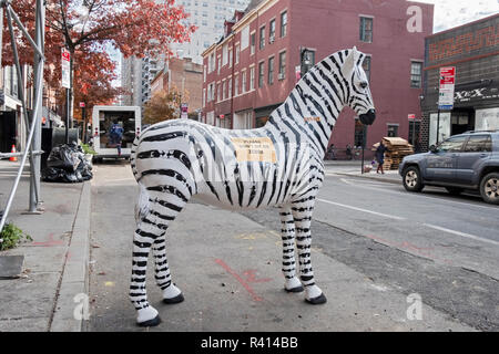 Un zèbre en vente sur 8e Rue dans Greenwich Village, Manhattan, New York. Banque D'Images