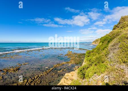 Beau paysage à plage de Bushy scenic reserve populaire pour l'observation des phoques et des pingouins. Oamaru, région de l'Otago, Nouvelle-Zélande. Banque D'Images