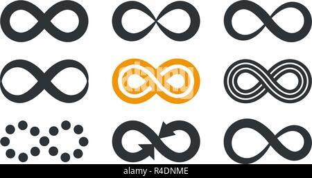 Symboles de l'infini. La répétition et la cyclicité illimité de styles isolé sur fond blanc. Banque D'Images