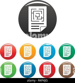 Solution labyrinthe icons set 9 vecteur de couleur isolé sur blanc pour toute conception Banque D'Images