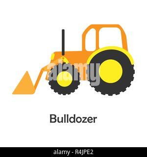Dans cartoon style Bulldozer, avec carte de transport, l'activité pour enfants d'âge préscolaire pour les enfants, vector