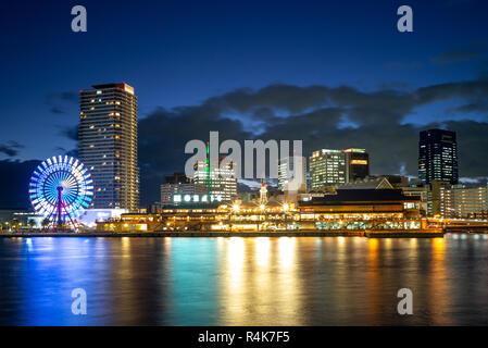 Scène de nuit du port de Kobe à Osaka, Japon aera Banque D'Images