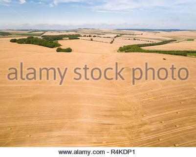 Paysage de l'antenne de l'été récoltés les champs de blé et d'orge de l'exploitation agricole Banque D'Images