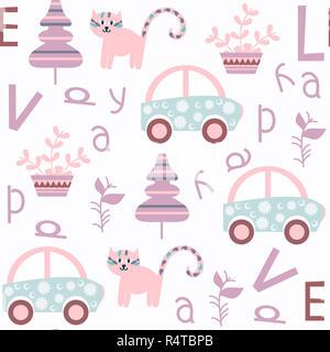 Cute kids abstract vector seamless pattern. Il est situé dans la région de swatch menu. Pour la conception d'arrière-plan coloré Banque D'Images