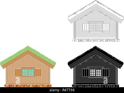 Maison traditionnelle norvégienne de bois rond . Le toit est recouvert de greensward. Vector illustration. Noir, blanc et couleur d'ossature. Banque D'Images