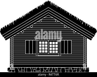 Maison traditionnelle norvégienne de bois rond . Le toit est recouvert de greensward. Vector illustration. Silhouette noire. Banque D'Images