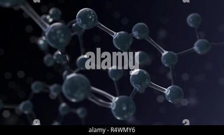 La science fond sombre avec la structure de l'atome. Illustration 3D render Banque D'Images
