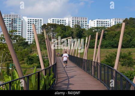 Un pont enjambant un canal navigable à Singapore, Singapore, Singapour, Parc, un nouveau complexe d'HDB maisons dans l'arrière-plan Banque D'Images