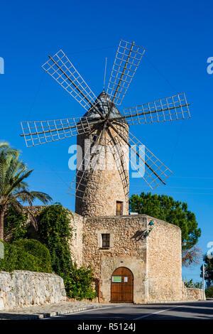 Moulin de restaurant Moli en Pau en Sineu, Malaga, Majorque, Iles Baléares, Espagne, Europe Banque D'Images