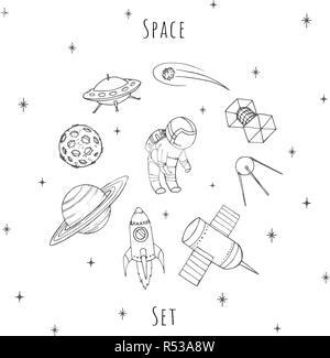 Vecteur dessiné à la main les éléments d'espace: cosmonaute, satelites, rocket, planète, lune, étoile filante et OVNI. Cosmos set isolé sur le fond blanc. Banque D'Images