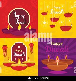 Bannière de Diwali. Télévision illustration de diwali bannière vecteur défini pour web design Banque D'Images