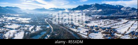 Près de la montagne brauneck lenggries Allemagne Hiver Isar Banque D'Images