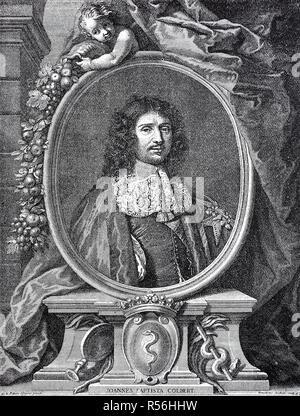 Jean-Baptiste Colbert, Marquis de Seignelay, le 29 août 1619, le 6 septembre 1683, woodcut, France Banque D'Images