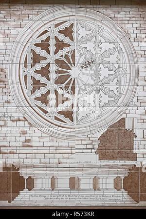 Londres, Royaume-Uni - Octobre 09, 2010: Rose à la Winchester Palace à Southwark. Grande salle historique Fenêtre ronde à Bishop Palace à Londres, Banque D'Images