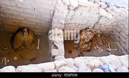La civilisation Nazca preinca ancien cimetière de Chauchilla à Nazca, Pérou Banque D'Images