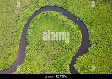 Bateau à voile & vue aérienne de la forêt tropicale de Daintree, rivière, parc national de Daintree, Queensland Australie Banque D'Images