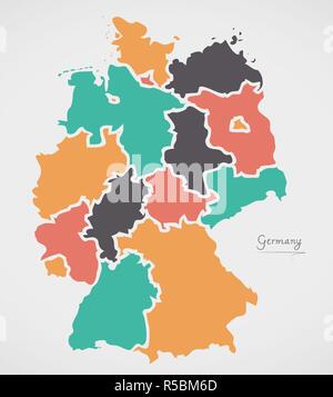 Carte de l'Allemagne avec les états et les formes rondes modernes Banque D'Images