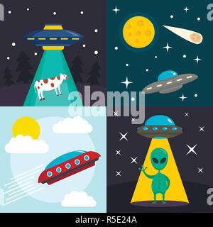 Ovni espace jeu bannière. Illustration de l'espace télévision UFO vector set bannière pour le web design Banque D'Images