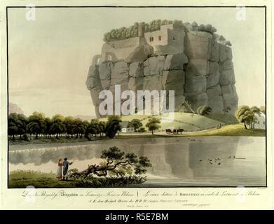 Un homme et une femme se tenir par un arbre tombé sur la réflexion d'un château en ruines construit dans une montagne branlante en Sloup v ÄOEzecháBürgstein (ch) sur un lac au premier plan, avec des chalets dans les arbres, et les visiteurs de grimper les escaliers du château en arrière-plan. Collection de vues les plus intéressantes et pittoresques de la Bohémoi. Wien: bey Artaria Comp., [entre 1800 et 1810]. Source: 7 Cartes.TAB.38, la plaque 27. Langue: Allemand et Français. Banque D'Images