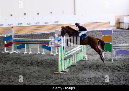 Belle jeune fille jockey cheval prêt à bondir. Banque D'Images