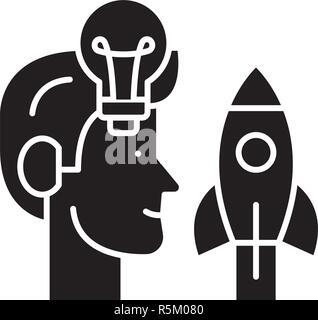 Trouver de nouvelles idées icône noire, vector signe sur fond isolé. Trouver de nouvelles idées, symbole concept illustration Banque D'Images