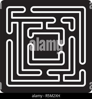 Chemin dans le labyrinthe icône noire, vector signe sur fond isolé. Chemin dans le labyrinthe, symbole concept illustration Banque D'Images
