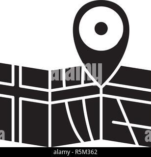 Itinéraire sur la carte icône noire, vector signe sur fond isolé. Itinéraire sur la carte symbole, illustration Banque D'Images