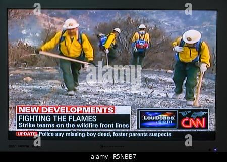 Floride, FL, Sud, Miami Beach, SoBe, télévision à écran plat, télévision, téléviseur, écran tourné, médias, nouvelles, news, news, broadcast, câble, CNN, feux de forêt, feu de feu