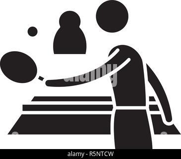 Ping pong jouer icône noire, vector signe sur fond isolé. Ping pong jouer symbole, illustration Banque D'Images