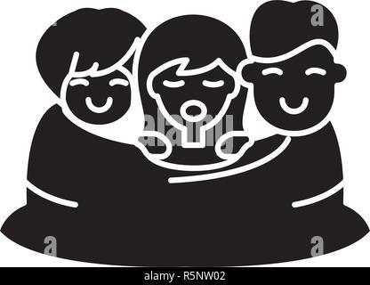 Triangle amoureux icône noire, vector signe sur fond isolé. Triangle amoureux symbole, illustration Banque D'Images