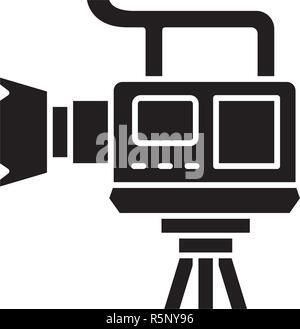 Caméra vidéo professionnelle icône noire, vector signe sur fond isolé. Caméra vidéo professionnelle, symbole concept illustration Banque D'Images