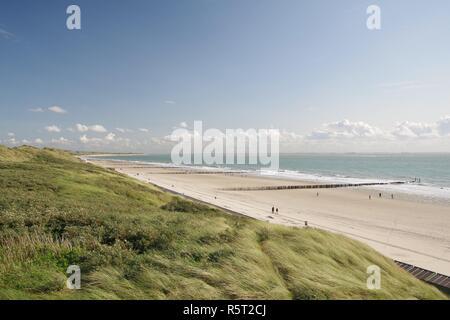 Digue dunes,plage,avec des épis et de la mer du Nord à zoutelande,225,sud,walcheren Pays-Bas Banque D'Images