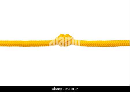 Corde avec nœud isolé sur fond blanc Banque D'Images