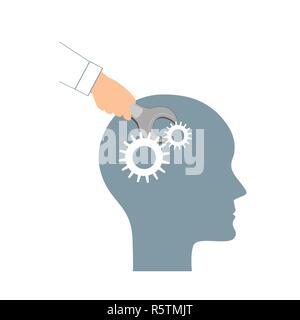 La PNL ou Programmation Neuro-Linguistique concept. Ouvrez la tête et une main avec une clé. La manipulation, la santé mentale, le développement personnel, la psychothérapie et l'icon Banque D'Images