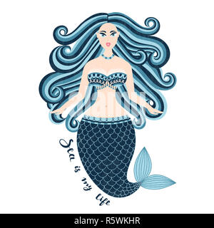 Sirène. Fille de la mer à la main. Belle femme avec queue. Conception d'été marine. Nixie avec cheveux sauvages. Summertime Banque D'Images