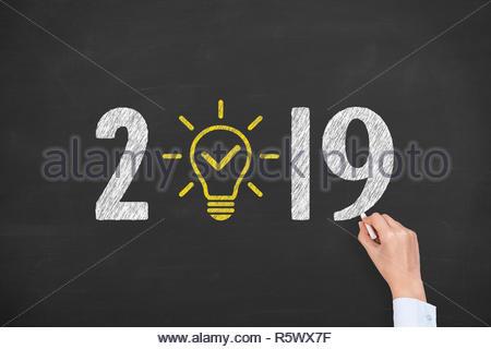 Nouvelle Année 2019 Solution idée de concepts sur tableau Banque D'Images