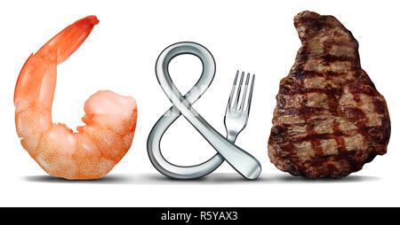Surf and Turf les fruits de mer et steak concept alimentaire comme une fourche en forme de symbole sur un fond blanc avec des éléments 3D illustration. Banque D'Images