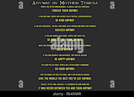De toute façon par Mère Teresa.jpg - R64NXH Banque D'Images